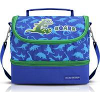 Lancheira Térmica Infantil Dino Jacki Design Pequeninos Azul