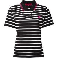 Mcq Alexander Mcqueen Camisa Polo Listrada 'Swallow' - Preto