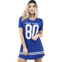 Vestido Camisão Bravaa Modas Longline 099 Azul