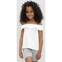 Blusa Infantil Ciganinha Off White