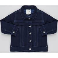 Jaqueta Jeans Infantil Com Babado E Recortes Azul Médio