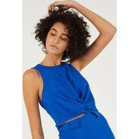 Blusa Cropped Com Linho & Torã§Ã£O - Azul Escuropop Up