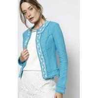 Casaqueto Em Tweed Com Bordado - Azul & Branco - Bobbobstore