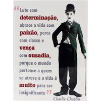 Quadro Geek10 Charlie Chaplin Lute Com Determinação Branco