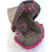 Capa Para Bebê Conforto Onça Alan Pierre Baby 0 A 13 Kg Preta Com Pink