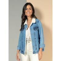 Jaqueta Jeans Com Bolsos E Abertura Em Botões