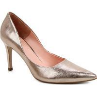 Scarpin Couro Shoestock Salto Alto Serpente - Feminino-Dourado