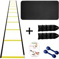 Kit Colchonete Eva Azul 10Mm + Par Halter 1Kg + Par Caneleira 1Kg + Escada Agilidade Nylon - Unissex