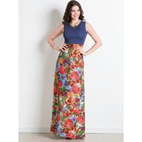 Vestido Longo Decote Redondo Marinho E Tropical