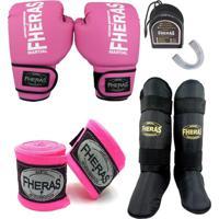 Kit Boxe Muay Thai Tradicional - Luva Bucal Bandagem Caneleira – 14 Oz Rosa