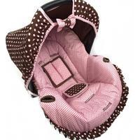 Capa Para Bebê Conforto Poá Alan Pierre Baby 0 A 13 Kg Rosa Com Marrom