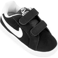 Tênis Infantil Couro Nike Court Royale - Feminino-Preto+Branco