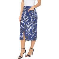 Saia Malwee Midi Floral Azul