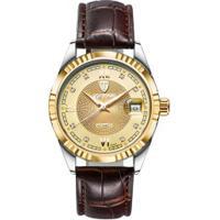 Relógio Tevise 629-003 Masculino Automático Pulseira De Couro Marrom - Dourado
