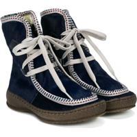 Pépé Kids Shearling-Lined Contrast-Trim Ankle Boots - Azul