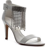 Sandália Couro Shoestock Noiva Franja Strass Feminina - Feminino-Branco