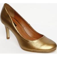 Sapato Tradicional Metalizado - Bronze- Salto: 7Cmmya Haas
