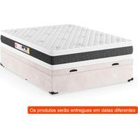 Cama Box Casal Premium Com Baú Suede Pena Bege Com Colchão Black White D45 Branco