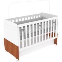 Berço Kind Móveis Mini Cama Bebê Dora Regulável Com Gaveta Branco Amadeirado