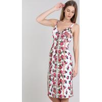 f4766fb36412 CEA; Vestido Feminino Estampado Floral Com Botões E Fenda Alça Média Branco