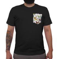 Animais Fletado - Camiseta Clássica Com Bolso Masculina