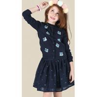 Casaco Infantil Menina Em Tricot Com Bordado De Partê Puc [] []