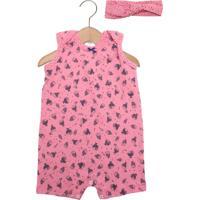 Macacão Bb2 Curto Baby Menina Rosa