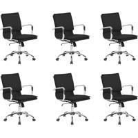 Conjunto Com 6 Cadeiras De Escritório Diretor Confort Preto