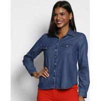 Camisa Jeans Com Bolsos - Azul Escuro - Vip Reservavip Reserva