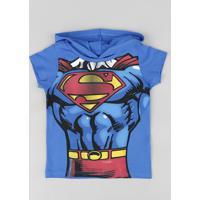 59298a0e4 CEA  Camiseta Infantil Super Homem Com Capuz Manga Curta Azul Royal