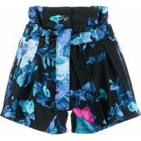 The Attico Bermuda Cintura Alta Com Estampa Floral - Azul