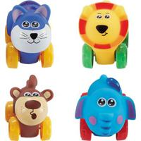 Conjunto De Carrinhos - Roda Livre - Gato, Leão, Elefante E Macaco - Zoo Cars - Minimi