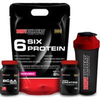 Kit 6 Six Protein 2Kg Chocolate + Bcaa 4,5 100G + 100% Creatine 100G + Coqueteleira – Bodybuilders - Unissex