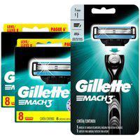 Kit Gillette Com 16 Cargas Mach3 + 1 Aparelho De Barbear Gillette Mach3