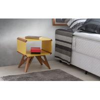 Criado-Mudo Retrô Colorido Amarelo Design Moderno Vintage Presley - 46X33,5X50 Cm