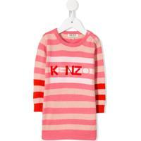 Kenzo Kids Vestido De Veludo Com Logo - Rosa