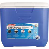 Caixa Térmica 30Qt 28,3 Litros Tampa Articulada Com 2 Porta Copos - Coleman Azul