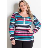Blusa Listrada Com Peitilho Marguerite Plus Size