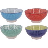 Jogo De Bowls Geomã©Tricos- Azul Claro & Vermelho- 4Pbtc Decor