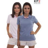 Kit 2 Polos Femininas Lagoon Tigs - Lilás E Rosa Claro-G