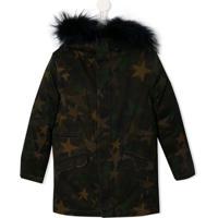 Yves Salomon Enfant Faux Fur Trim Hooded Coat - Verde