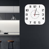 Relógio De Parede Decorativo Premium Quadrado Com Números Em Relevo Branco Médio