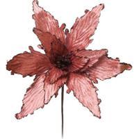 Flor Decorativa Com Relevo- Rosa- 30X25X25Cm- Crcromus