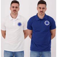 Kit De 2 Polos Cruzeiro I Branca E Azul