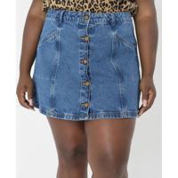 Saia Jeans Com Botões Curve & Plus Size