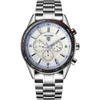 Relógio Tevise 823B Masculino Automático Pulseira De Aço - Branco