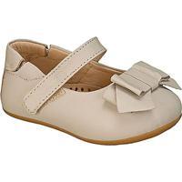 Sapato Boneca Em Couro Com Laã§O- Bege- Babykimey