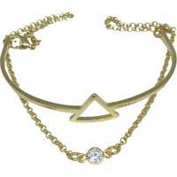 Pulseira Banho De Ouro Triangulo Ponto De Luz Kumbayá Joias - Feminino-Dourado