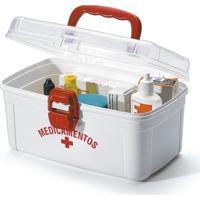 Caixa Organizadora Plástico Para Medicamentos Média Branca