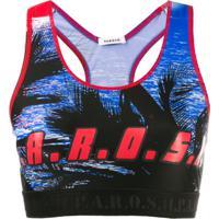 P.A.R.O.S.H. Blusa Cropped Com Estampa De Logo - Azul